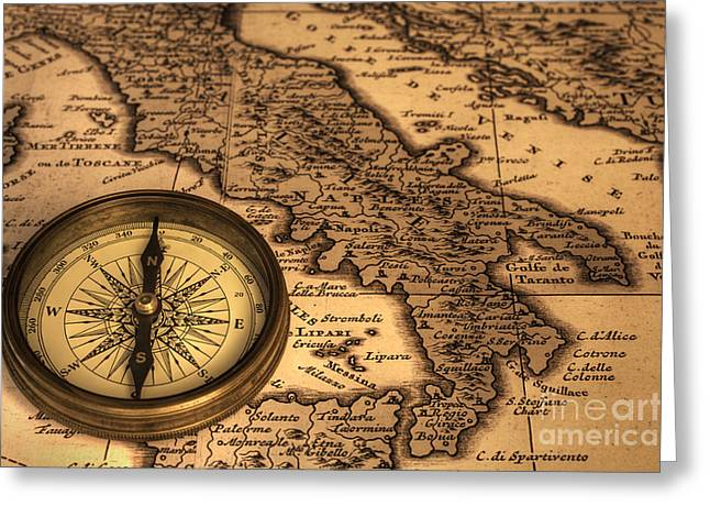 Compass And Ancient Map Of Italy Greeting Card