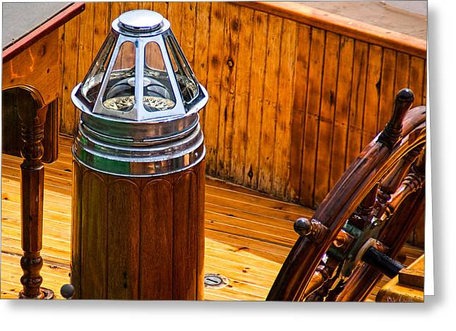 Compass And Bright Work Old Sailboat Greeting Card by Bob Orsillo