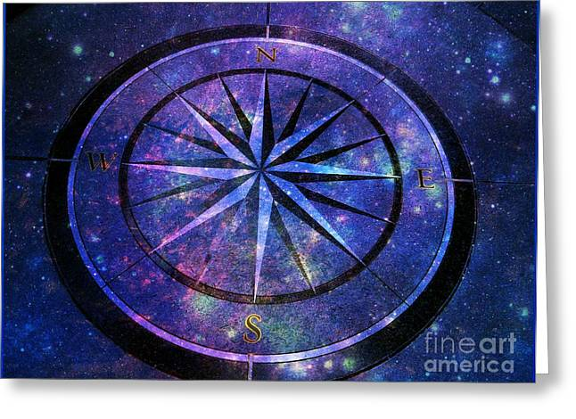 Compass With A Galaxy Greeting Card