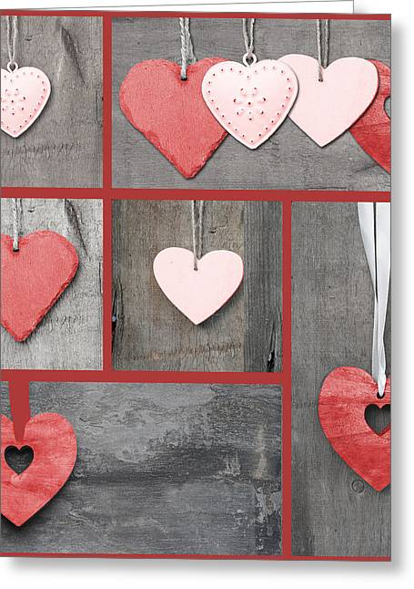 Compilation Collage Of Various Valentine's Day Hearts Greeting Card by Matthew Gibson