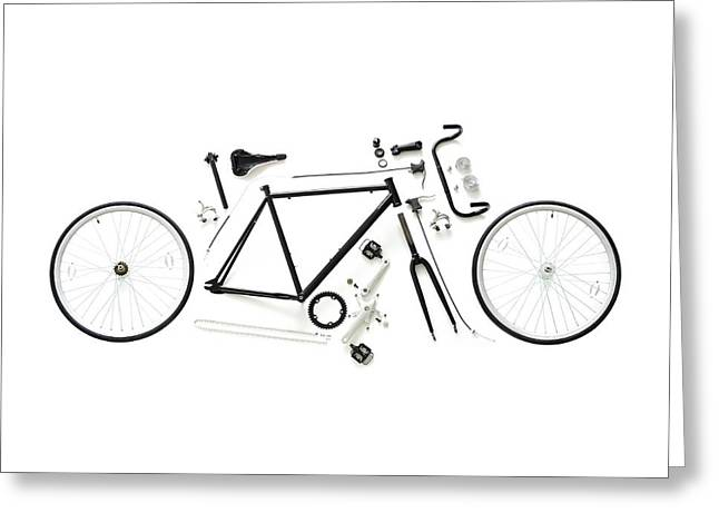 Components Of A Road Bike Greeting Card by Science Photo Library