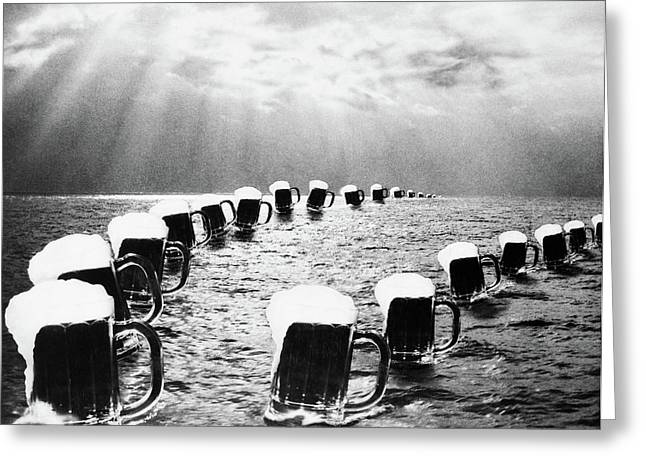Composite Photograph Mugs Of Beer Greeting Card