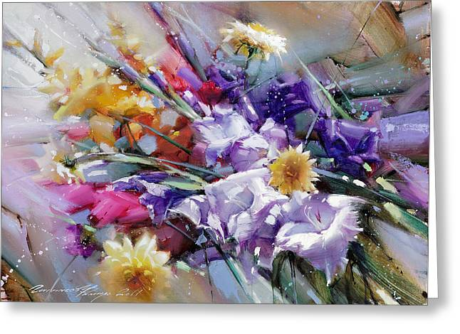 Composition With Gladioli Greeting Card by Ramil Gappasov