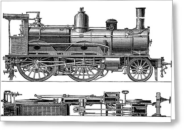 Compound Steam Locomotive Greeting Card