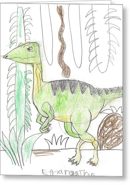 Greeting Card featuring the drawing Compsignatious In The Jungle by Fred Hanna