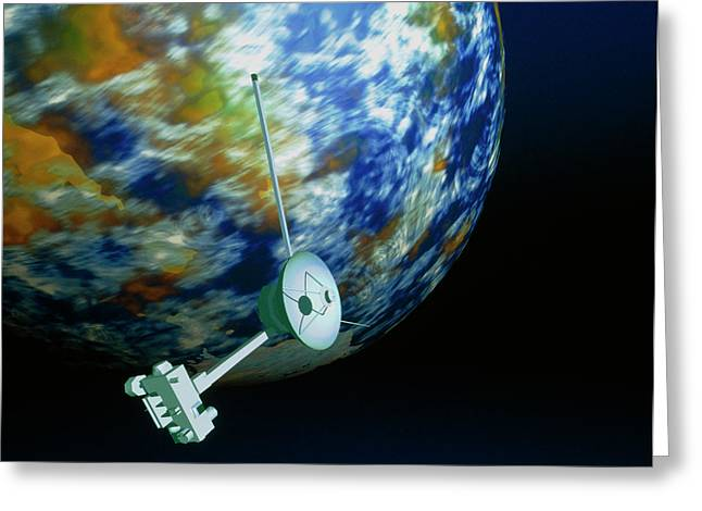 Computer Art Of Voyager Spacecraft Passing Planet Greeting Card by Mehau Kulyk/science Photo Library