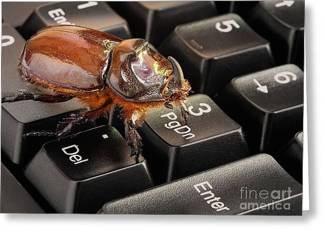 Computer Bug Greeting Card by Sinisa Botas