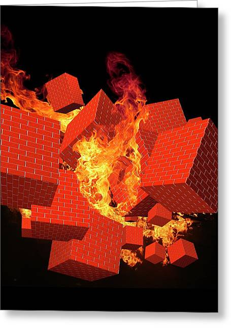 Computer Firewall Greeting Card by Victor Habbick Visions