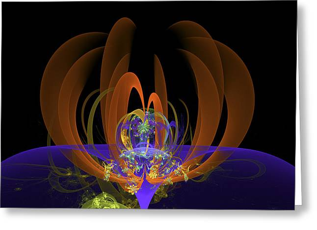 Computer Generated Art Digital Fractal Abstract Orange Blue Black Greeting Card