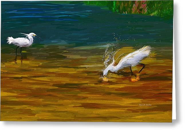 Computer Generated Image Of Bird Wading Greeting Card