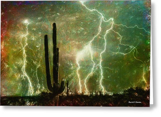 Computer Generated Image Of Lightening Greeting Card by Angela A Stanton