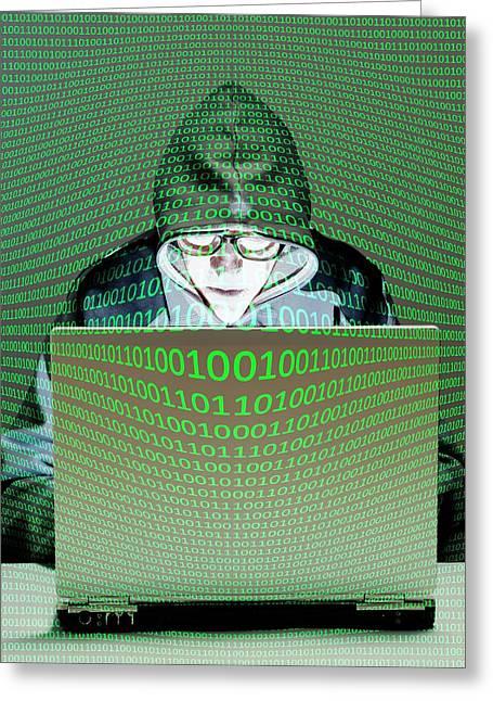 Computer Hacker Greeting Card by Victor De Schwanberg