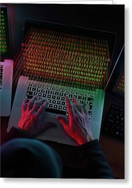 Computer Hacking Greeting Card by Tek Image