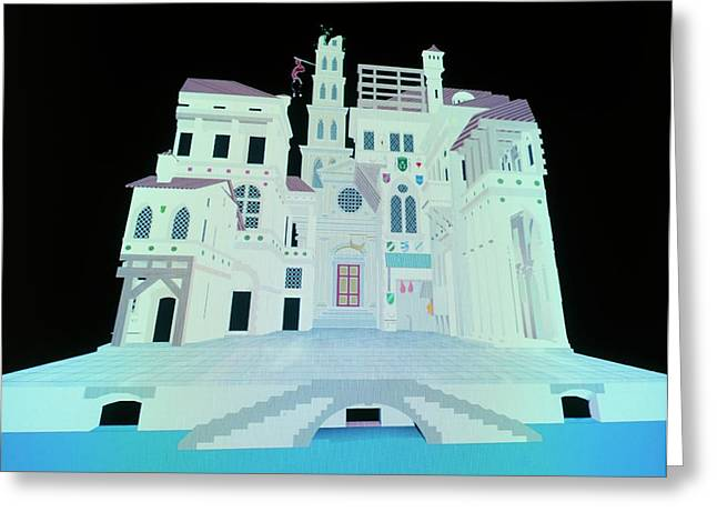 Computer Model Of Ancient Theatre Greeting Card by Vaughan Hart