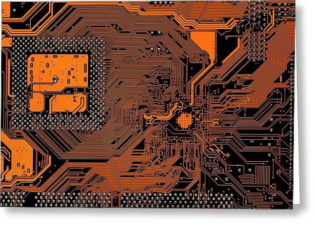 Computer Motherboard Greeting Card by Antonio Romero