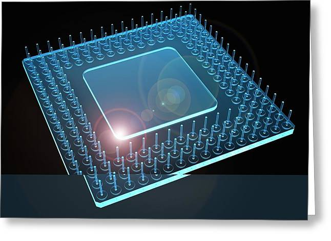 Computer Processor, Artwork Greeting Card by Science Photo Library