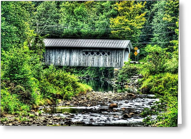 Comstock Covered Bridge Greeting Card by John Nielsen