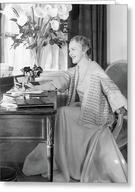 Comtesse Jean De Polignac At Her Desk Greeting Card by Horst P. Horst