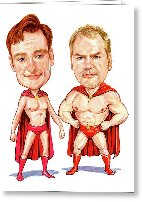 Conan  O'brien And Jim Gaffigan As Pale Force Greeting Card by Art