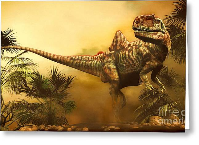 Concavenator Was A Theropod Dinosaur Greeting Card by Philip Brownlow
