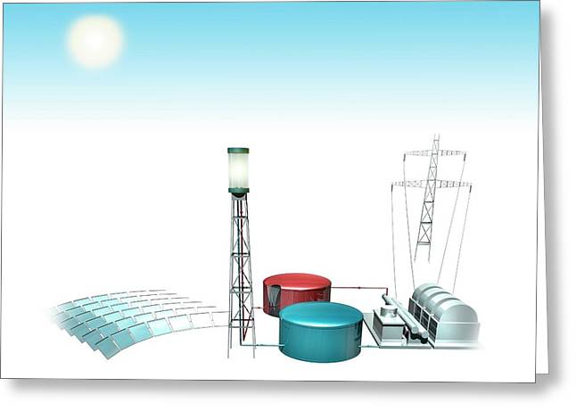 Concentrating Solar Power Plant Greeting Card by Mikkel Juul Jensen