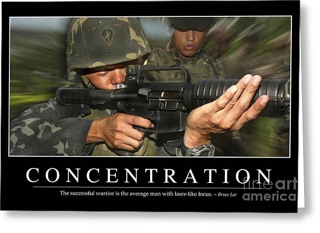 Concentration Inspirational Quote Greeting Card by Stocktrek Images