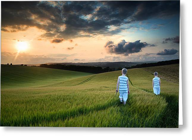 Concept Landscape Young Boys Walking Through Field At Sunset In  Greeting Card