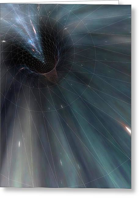 Conceptual Illustration Of A Wormhole Greeting Card by Mark Garlick