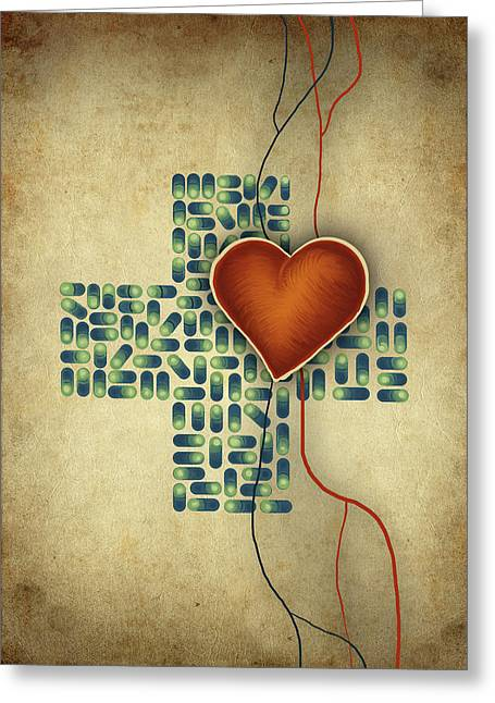 Conceptual Illustration Of Heart Over Cross Shaped Capsules Greeting Card by Fanatic Studio / Science Photo Library