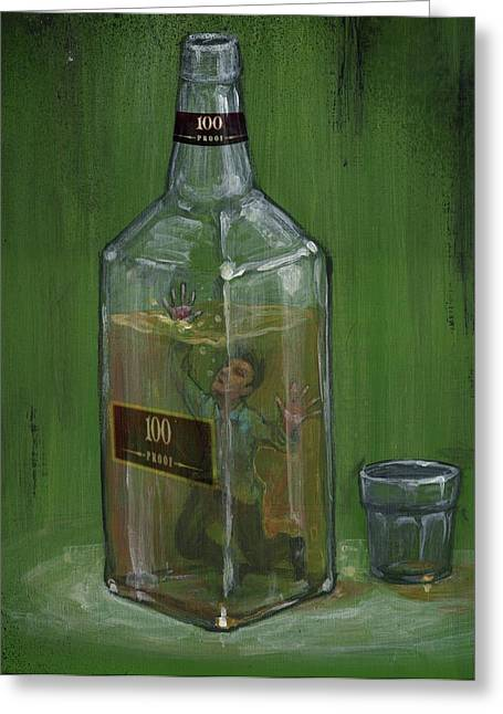 Conceptual Illustration Of Man Drowning In Alcohol Bottle Greeting Card