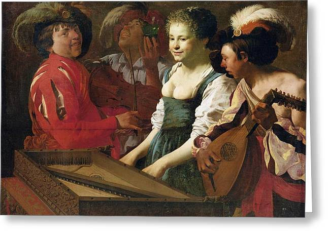 Concert, 1626 Oil On Canvas Greeting Card by Hendrick Ter Brugghen