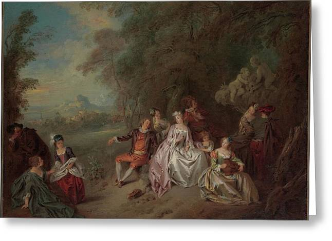 Concert Champ�tre Greeting Card by Jean-Baptiste Joseph Pater