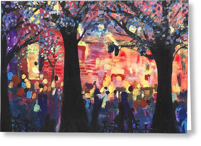 Concert On The Mall Greeting Card by Leela Payne