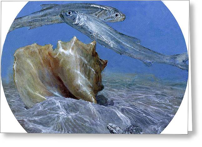 Conch And Ladyfish, 2001 Pair Greeting Card by Stanley Meltzoff / Silverfish Press