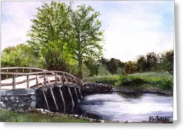 Greeting Card featuring the painting Concord Bridge by Cindy Plutnicki