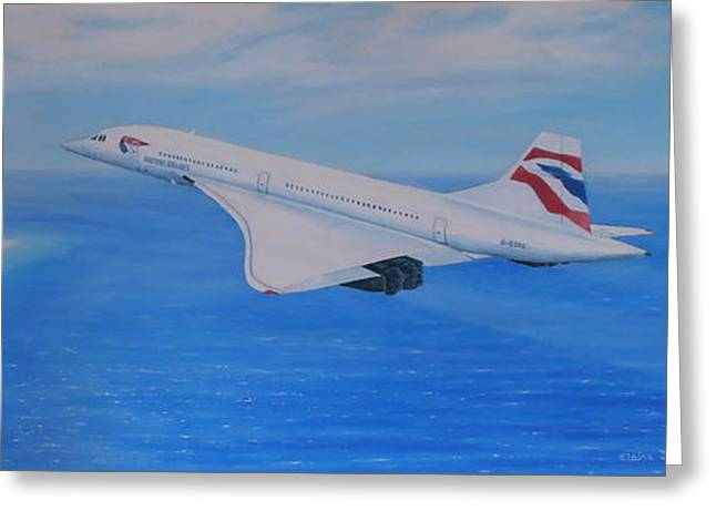 Concorde Over Barbados Greeting Card by Elaine Jones