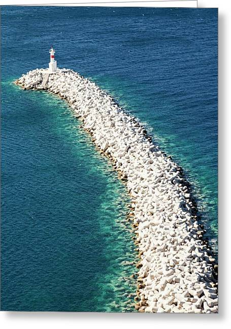 Concrete Breakwater Greeting Card by Ashley Cooper