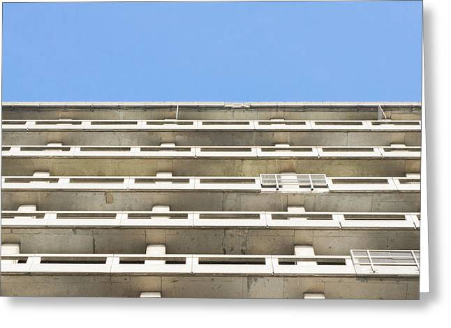 Concrete Building Greeting Card by Tom Gowanlock