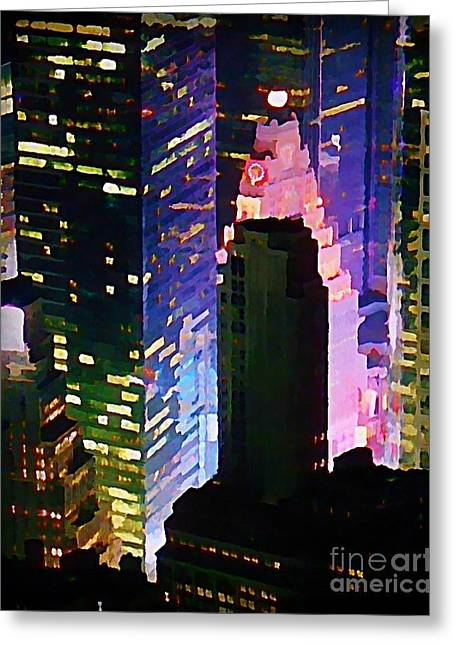 Concrete Canyons Of Manhattan At Night  Greeting Card by John Malone
