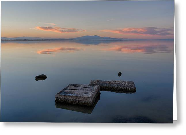 Concrete Floats Greeting Card by Peter Tellone