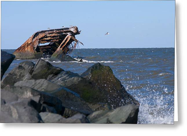 Greeting Card featuring the photograph Concrete Ship by Greg Graham