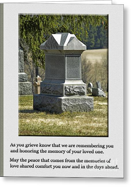 Condolence Photo Greeting Card Greeting Card by Andrew Govan Dantzler