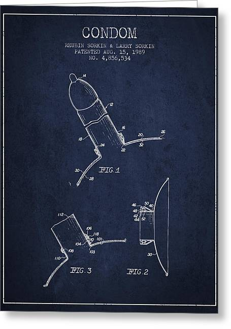 Condom Patent From 1989 - Navy Blue Greeting Card by Aged Pixel