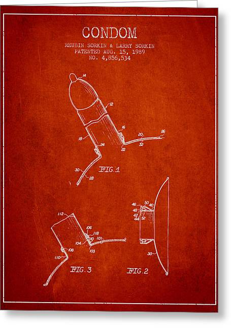 Condom Patent From 1989 - Red Greeting Card by Aged Pixel
