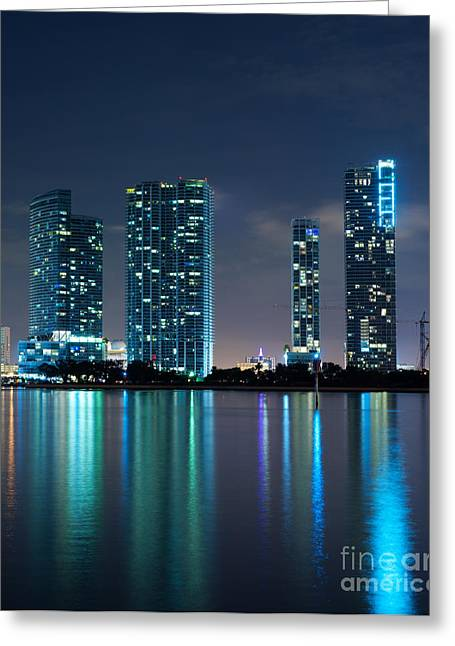 Greeting Card featuring the photograph Condominium Buildings In Miami by Carsten Reisinger