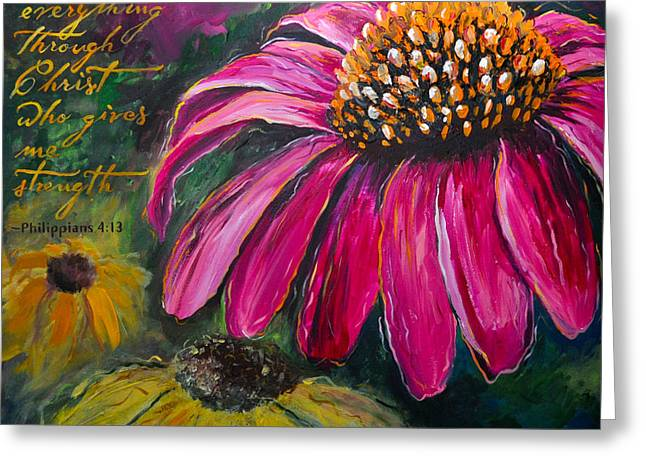 Greeting Card featuring the painting Coneflower by Lisa Fiedler Jaworski