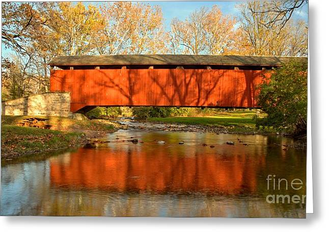 Conestoga River Reflections Crop Greeting Card by Adam Jewell