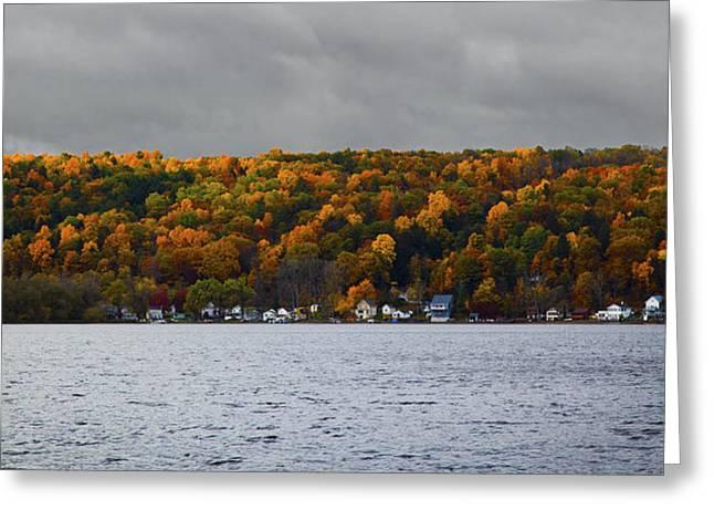 Conesus Lake Autumn Greeting Card by Richard Engelbrecht