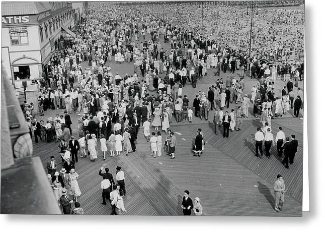 Coney Island - Boardwalk And Beach Greeting Card by MMG Archives