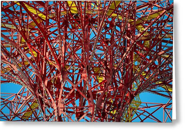 Coney Island Abstract Expressionist Greeting Card by Steven Richman